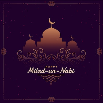Modèle de carte de voeux de festival islamique milad un nabi