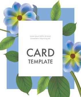 Modèle de carte de voeux avec des fleurs bleues sur cadre bleu. fête, événement, célébration.