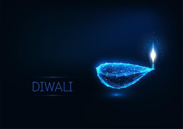Modèle de carte de voeux happy diwali avec des lumières rougeoyantes