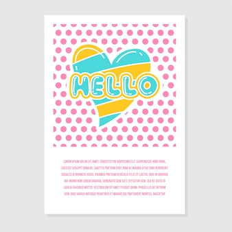Modèle de carte de voeux et invitation mignonne avec écriture bonjour bonjour