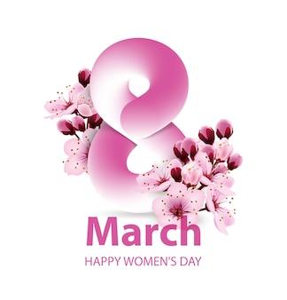 Modèle de carte de voeux journée de la femme du 8 mars fond de la journée internationale de la femme avec des fleurs