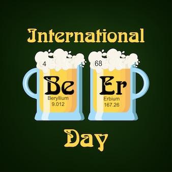 Modèle de carte de voeux de la journée internationale de la bière
