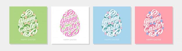 Modèle de carte de voeux joyeuses pâques de différentes couleurs