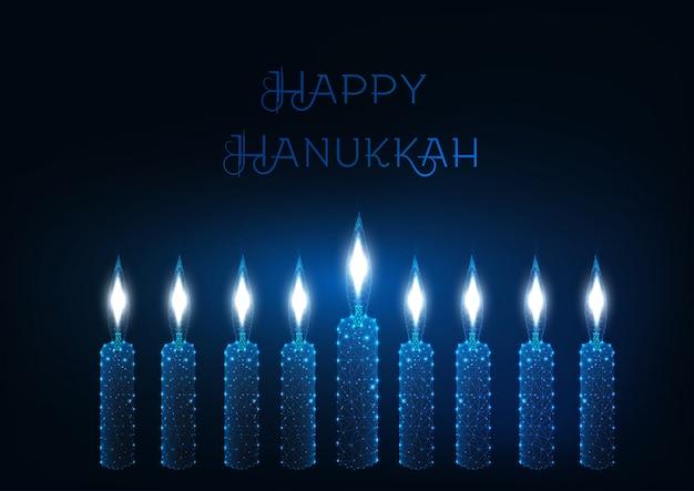 Modèle de carte de voeux joyeux hanukkah