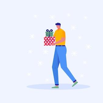 Modèle de carte de voeux joyeux noël avec homme marchant et portant des cadeaux, coffrets cadeaux. affiche d'hiver de noël, bannière, invitations