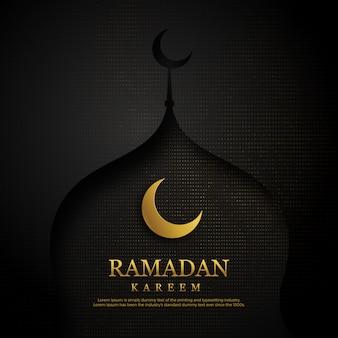 Modèle de carte de voeux joyeux ramadan kareem noir et or.