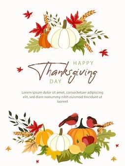 Modèle de carte de voeux joyeux thanksgiving day avec des légumes et des feuilles colorées.