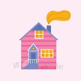 Modèle de carte de voeux de maisons confortables