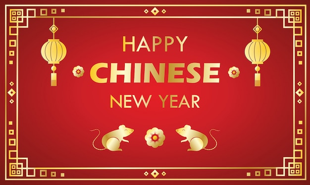 Modèle de carte de voeux de nouvel an chinois heureux sur rouge