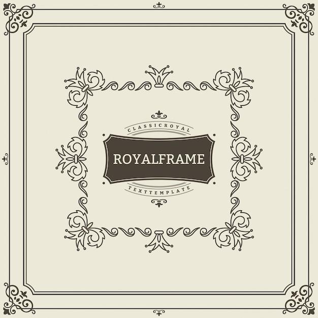 Modèle de carte de voeux d'ornement vintage. invitation de luxe rétro, certificat royal. cadre s'épanouit.