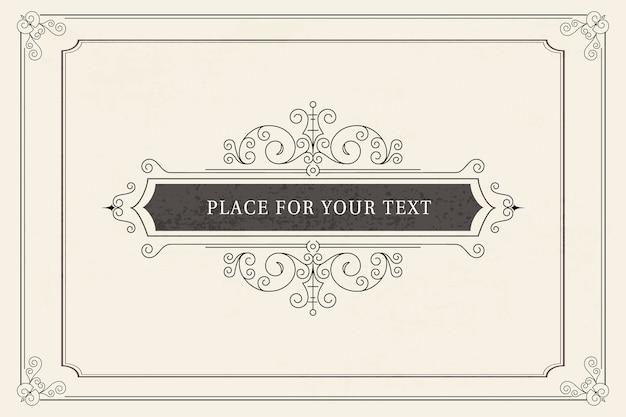 Modèle de carte de voeux ornement vintage. invitations de mariage rétro, publicité ou autre conception et lieu pour le texte. cadre fleurit.