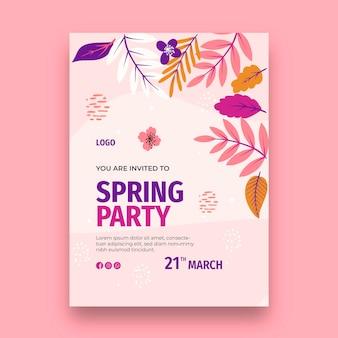 Modèle de carte de voeux printemps design plat