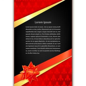 Modèle de carte de voeux avec ruban d'or, arc rouge