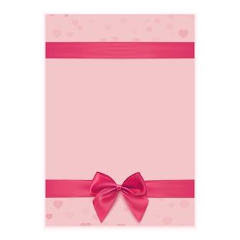 Modèle de carte de voeux avec ruban rose et arc.