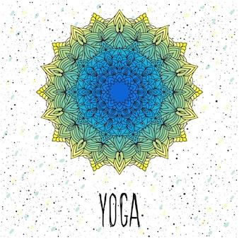 Modèle de carte de yoga. mandala rond en dentelle ethnique ornementale orientale dessiné à la main pour la conception de t-shirt, carte vintage, invitation à une fête, affiche de yoga, brochures, album cadeau, scrapbook, etc.