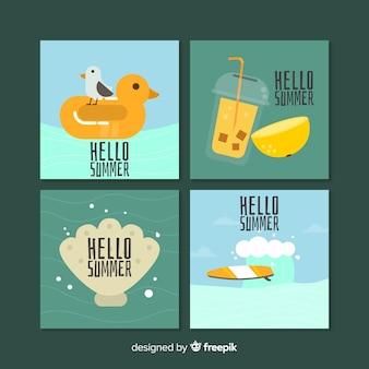 Modèle de cartes d'été plat