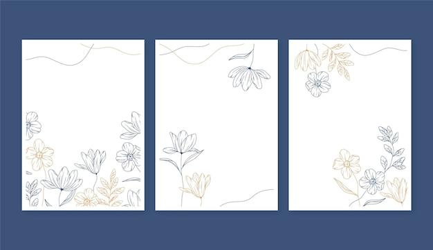 Modèle de cartes florales de gravure