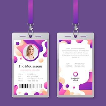 Modèle de cartes d'identité abstraites avec image