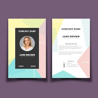 Modèle de cartes d'identité de conception minimale avec photo
