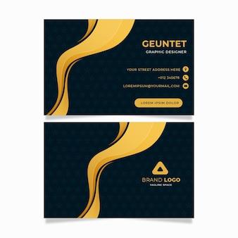 Modèle de cartes d'identité d'entreprise curvy golden line