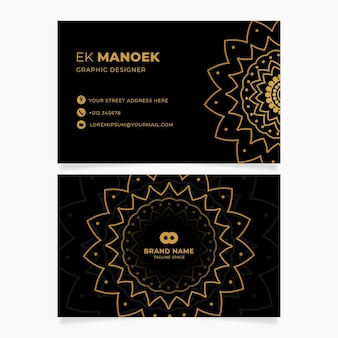 Modèle de cartes d'identité d'entreprise de fleur d'or