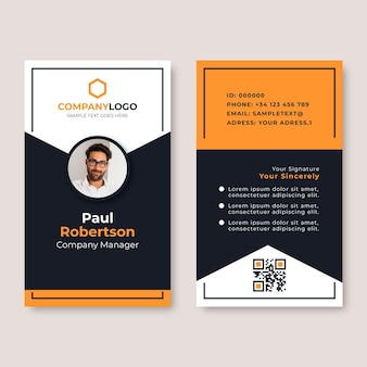Modèle de cartes d'identité minimal avec photo