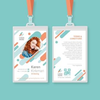 Modèle de cartes d'identité minimaliste avec image