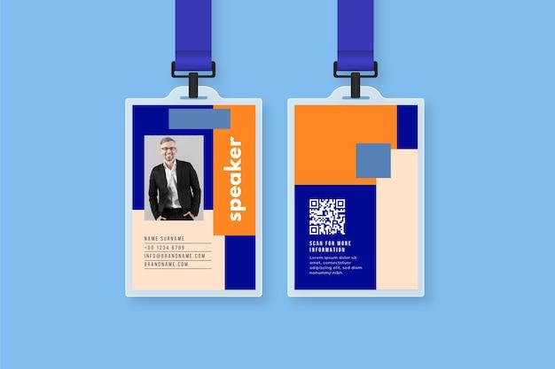 Modèle de cartes d'identité avec photo