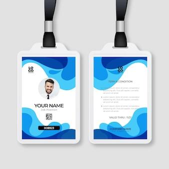 Modèle de cartes d'identité de style abstrait avec photo