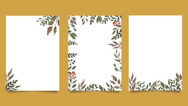 Modèle de cartes d'invitation feuille aquarelle