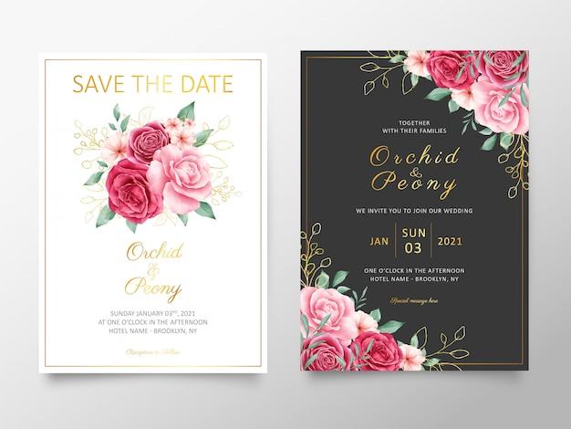 Modèle de cartes d'invitation de mariage élégant avec bouquet de fleurs à l'aquarelle