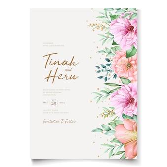 Modèle de cartes d'invitation de mariage élégant avec un design aquarelle de fleurs de cerisier