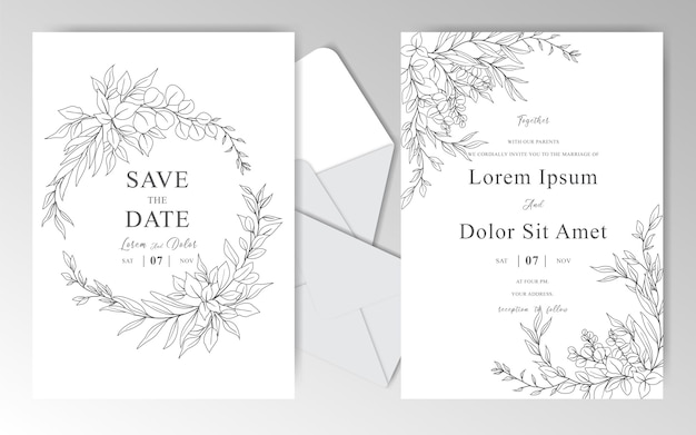 Modèle de cartes d'invitation de mariage élégant dessiné à la main avec de belles feuilles
