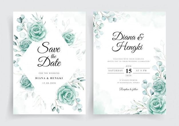Modèle de cartes d'invitation de mariage élégant avec eucalyptus aquarelle