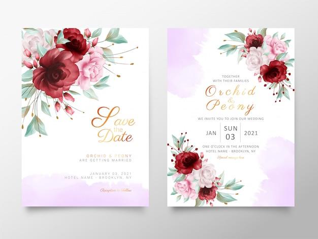 Modèle de cartes d'invitation de mariage élégant avec fleurs et aquarelle