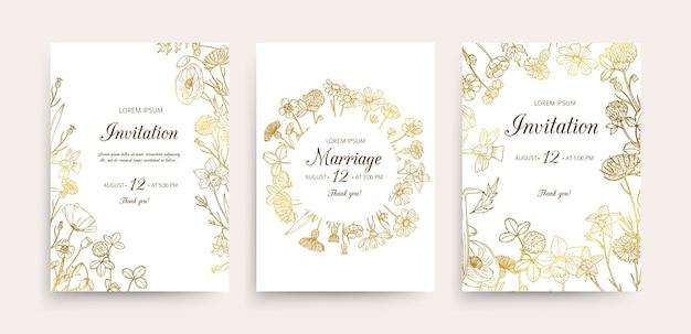 Modèle de cartes d'invitation de mariage avec des fleurs dorées