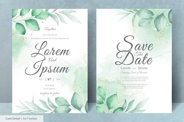Modèle de cartes d'invitation de mariage floral aquarelle minimaliste