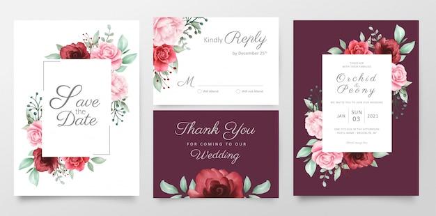 Modèle de cartes d'invitation de mariage floral élégant set décoration de fleurs à l'aquarelle