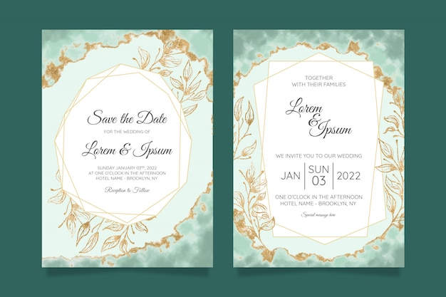 Modèle de cartes d'invitation de mariage floral avec feuille d'or aquarelle
