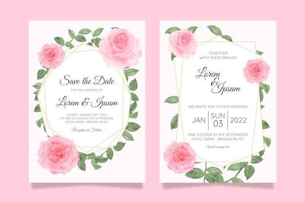 Modèle de cartes d'invitation de mariage floral avec fond de cadre floral aquarelle