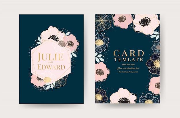 Modèle de cartes d'invitation de mariage floral