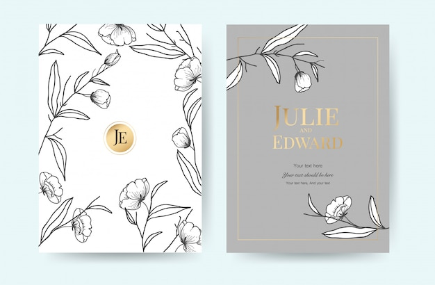 Modèle de cartes d'invitation de mariage de luxe avec style vintage floral.