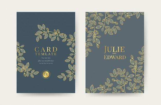 Modèle de cartes d'invitation de mariage de luxe