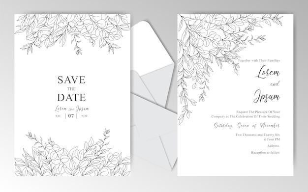 Modèle de cartes d'invitation de mariage romantique dessinés à la main