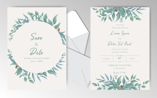 Modèle de cartes d'invitation de mariage vintage avec des feuilles de verdure et aquarelle