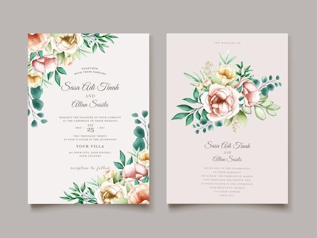 Modèle de cartes de mariage aquarelle belle fleur fleurie pivoine