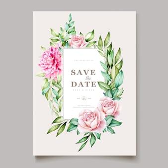Modèle de cartes de mariage aquarelle fleur pivoine rose