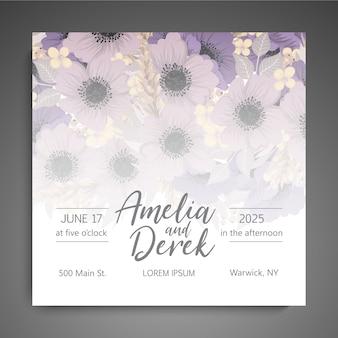 Modèle de cartes de mariage de fleurs