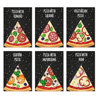 Modèle de cartes de pizza. cartes de pizza de vacances pour le menu de fête