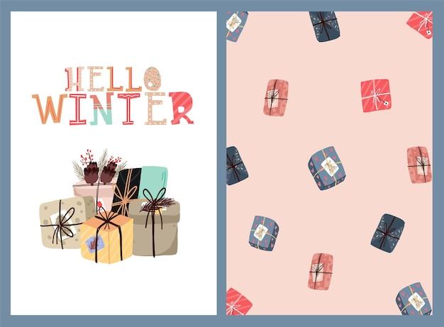 Modèle de cartes postales conception dautocollant mignon